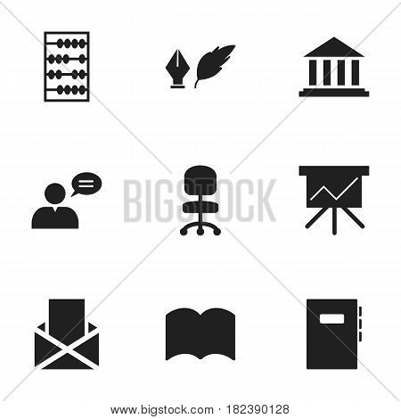 Set Of 9 Editable University Icons. Includes Symbols Such As Dictionary, Workbook, Literature And More. Can Be Used For Web, Mobile, UI And Infographic Design.