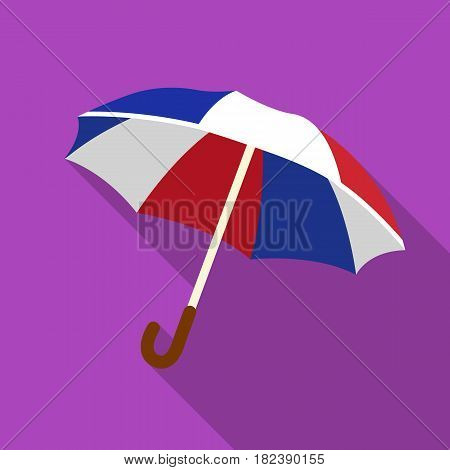Umbrella icon in flat design isolated on white background. France country symbol stock vector illustration. - stock vector