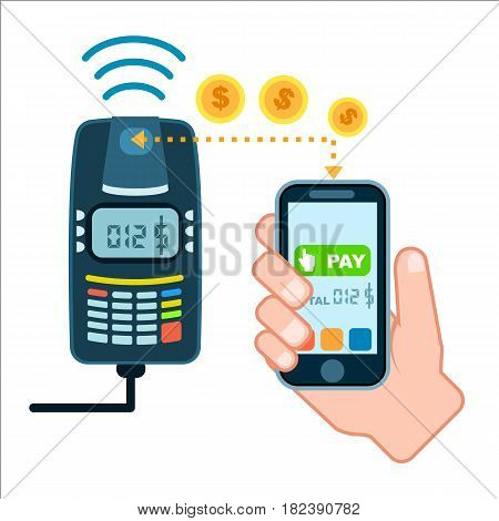 Mobile payment concept with POS terminal isolated vector illustration. NFC payment, money transferring via smartphone apps, online banking and shopping, ecommerce
