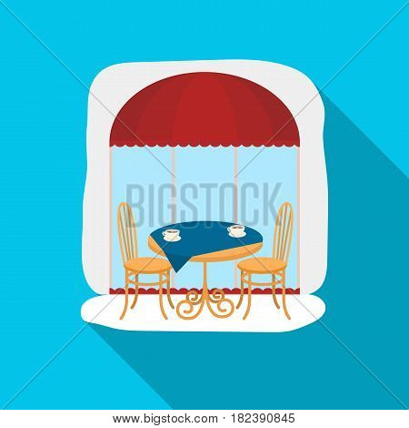 Served table near cafe icon in flat design isolated on white background. France country symbol stock vector illustration. - stock vector