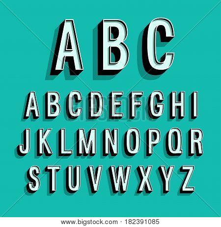 Retro creative alphabet on blue background. Vector illustration.