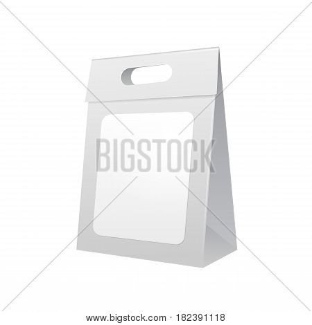 Paper Bag Package Folded With Label, Close, Grayscale With Handle. Isolated Mock Up Template Ready For Your Design. Product Packing Vector EPS10