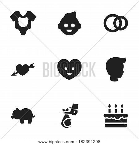 Set Of 9 Editable Folks Icons. Includes Symbols Such As Bodysuit, Soul, Moneybox And More. Can Be Used For Web, Mobile, UI And Infographic Design.