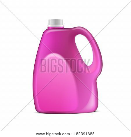 Pink Plastic Jerrycan Oil, Cleanser, Detergent, Abstergent, Liquid Soap, Milk, Juice. Illustration Isolated On White Background. Mock Up Template Ready For Your Design. Vector EPS10