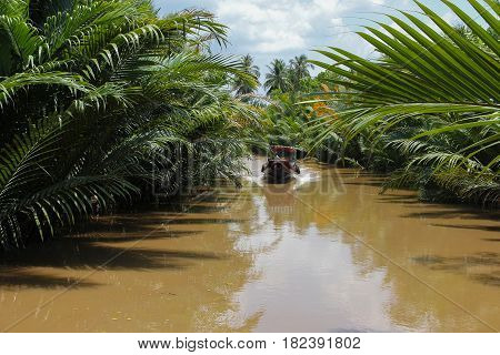 Boat sails along the canal in the Mekong Delta Vietnam