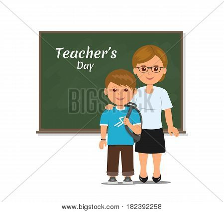 Teacher and student stands at the blackboard. Teacher and student on lesson at blackboard in classroom isolated on white background. Happy teachers day. Cartoon vector illustration in flat style.