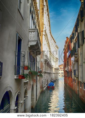 Beautiful old narrow passage in Venice Italy