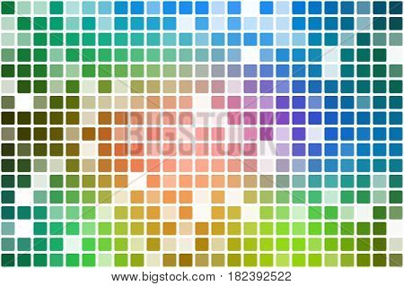 Pink green blue occasional opacity vector square tiles mosaic over white background