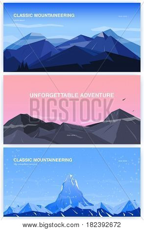 Set of horizontal background with mountains. mountaineering concept with place for text, Banner in cartoon, flat style. Colorful illustration.