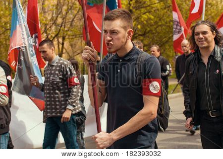 MOSCOW - MAY 1, 2016: National Bolsheviks, together with Communist party supporters take part in a rally marking the May Day.