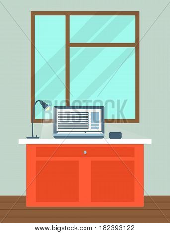 Office interior with laptop and lamp on table near window vector illustration. Modern business workplace with computer in flat design. Home cabinet with workspace for job and edication