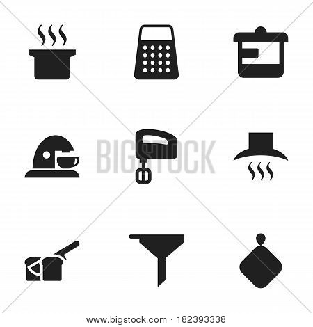 Set Of 9 Editable Meal Icons. Includes Symbols Such As Kitchen Hood, Agitator, Pot-Holder And More. Can Be Used For Web, Mobile, UI And Infographic Design.