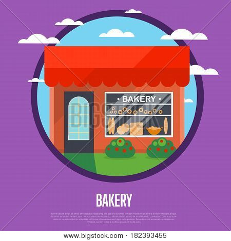 Bakery shop banner in flat design vector illustration. Cake shop, pastry store, dessert cafe, confectionery retail concept. Commercial public building in front with signboard and showcase on street