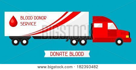 Mobile blood transfusion station vehicle. Medical and healthcare concept.