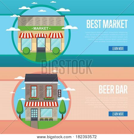 Best market and beer bar banner set vector illustration. Mall, shopping center, alcohol store, irish pub food store, retail concept. Commercial public building in front on street in flat design