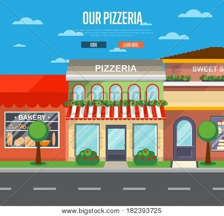 Facade of pizzeria restaurant in flat design vector illustration. Street cafe, bistro, fast food retail in cityscape. Commercial public building in front with signboard and awning on street.