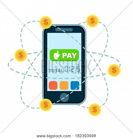Global mobile money transfer concept vector illustration. NFC payment technology, online banking and shopping via smartphone app, world ecommerce. Mobile wallet for online transaction service banner