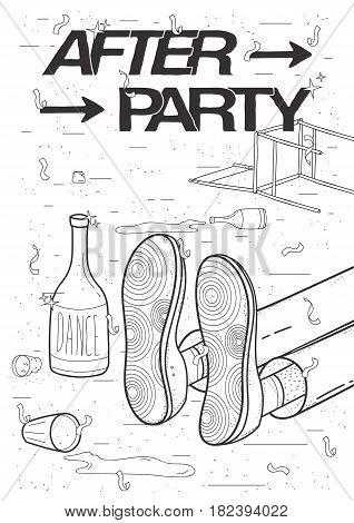 Afterparty placard. Drunk, tired guy asleep, resting of drinking. Funny party poster. Contour black and white illustration