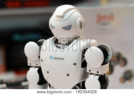 Minsk, Belarus - April 18, 2017: Robot Humanoid Ubtech Aplha 1S On Tibo-2017 The 24Th International