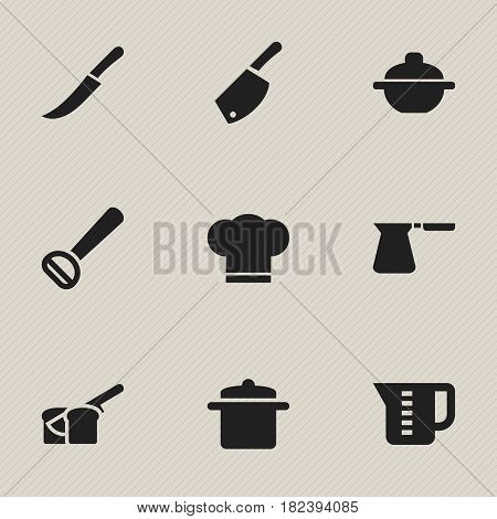 Set Of 9 Editable Food Icons. Includes Symbols Such As Coffee Pot, Bakery, Husker And More. Can Be Used For Web, Mobile, UI And Infographic Design.