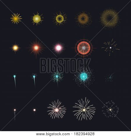 Celebration firework set for animation. Different firecracker stages in black background