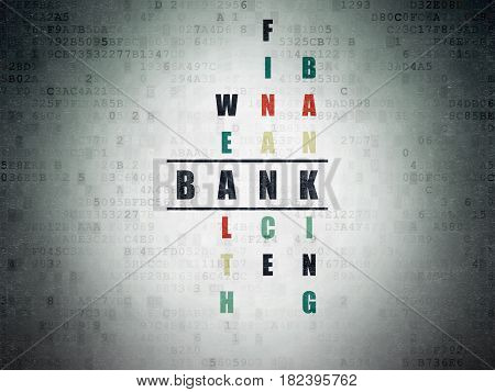 Banking concept: Painted black word Bank in solving Crossword Puzzle on Digital Data Paper background