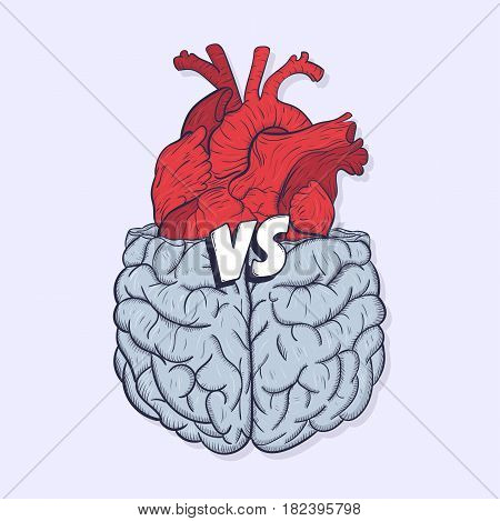 Heart vs brain. Concept of mind against love fight, difficult choice. Hand drawn vector illustration