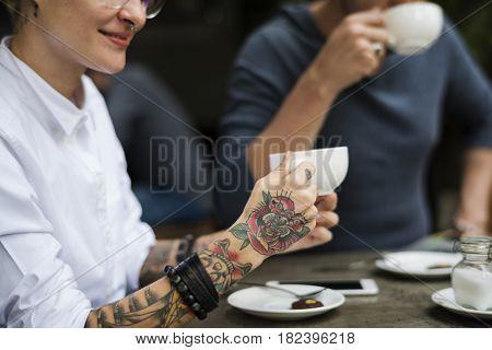 People Talk Work Laptop Present Cafe