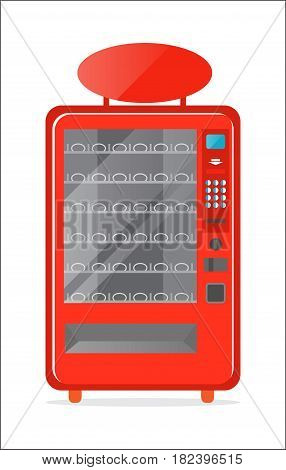 Modern vending machine icon isolated vector illustration. Cold drink, snack, chips, fast food, coffee or ice cream automatic seller in flat design