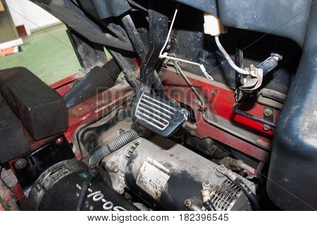 Forklift accelerator and brake pedal technology, dashboard,