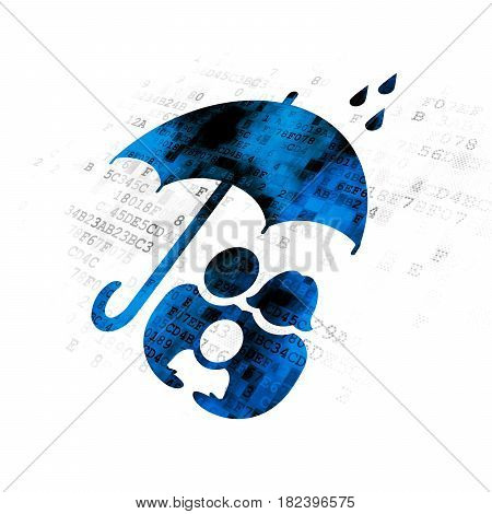 Privacy concept: Pixelated blue Family And Umbrella icon on Digital background