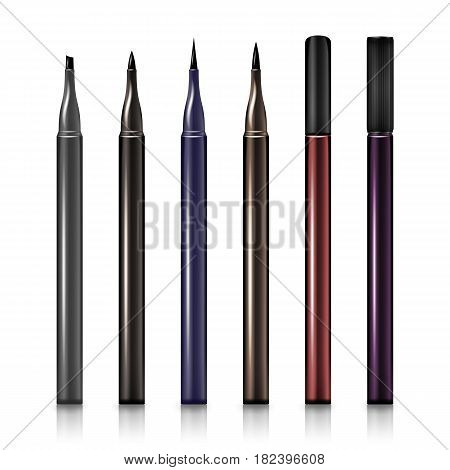 Set Cosmetic Makeup Eyeliner Pencil Vector illustration