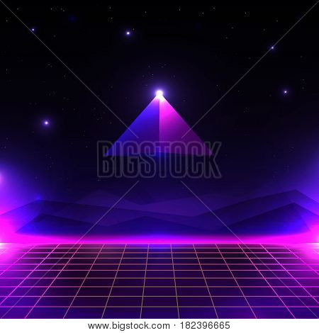 Retro futuristic landscape, glowing cyber world with grid and pyramid shape. sci-fi background 80s style