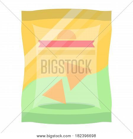 Bag of chips icon vector illustration isolated on white background. Fast food snack, vending machine menu pictogram in flat design