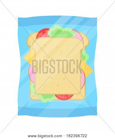 Packaged sandwich icon vector illustration isolated on white background. Cafe or restaurant fast food snack, vending machine menu pictogram in flat design