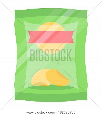 Packaged chips icon vector illustration isolated on white background. Fast food snack, vending machine menu pictogram in flat design