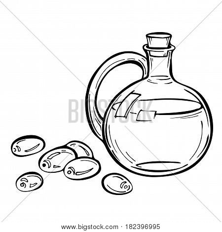 Olives and a bottle of olive oil. Engraved Glass bottle of premium olive oil and some olives with leaves. Jars and bottles vintage isolated on white in sketch Ink style