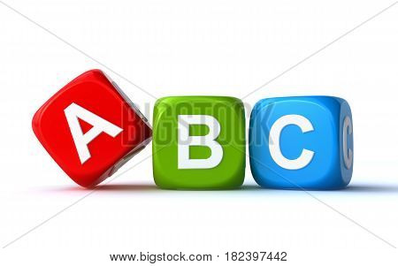 colorful abc cubes on the white background (3d rendering)