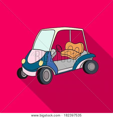 Golf cart icon in flat style isolated on white background. Golf club symbol vector illustration.