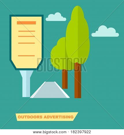 Outdoor road advertising placard vector illustration. Urban advertisement, road billboard, blank light board for message in flat design.