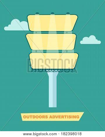 Outdoor advertising billboard vector illustration. Urban advertisement, road billboard, blank light board for message in flat design.
