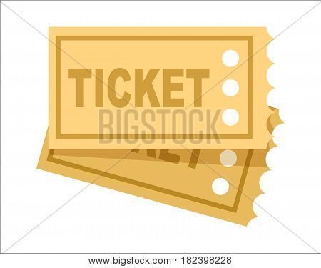 Ticket icon isolated vector illustration on white background. Retro entertainment, sport competition or transport ticket in flat design