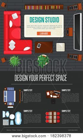 Design studio concept with top view apartment interior vector illustration. Living room, bedroom, kitchen, bathroom furniture design. Bed, desk, sofa, chair, bath, toilet, sink, stove house elements