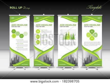 Green Roll Up Banner template and infographics stand design advertisement vector illustration banner layout business flyer pull up display x-banner flag-banner infographics presentation poster