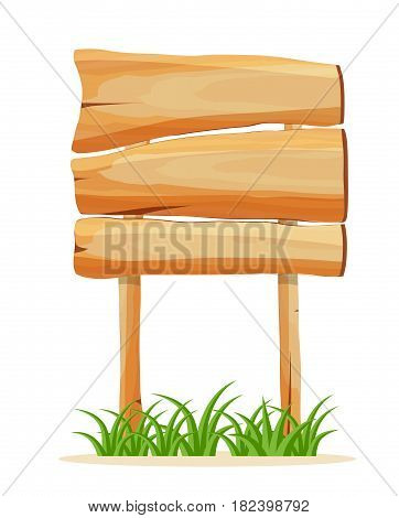 Wooden empty signboard icon isolated on white background vector illustration. Square shape wooden blank signpost in cartoon style