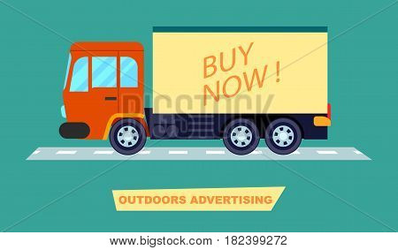 Outdoor advertising on transport vector illustration. Urban advertisement, marketing technology, blank board for message in flat design.