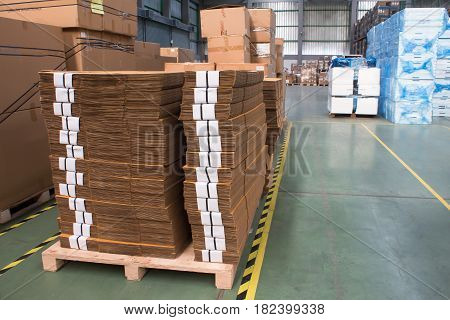 interior of warehouse.commercial, container, distribution, factory  floor