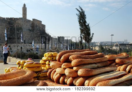 JERUSALEM ISRAEL - MARCH 25 2017: Counter with baking in front of the Citadel in Jerusalem near the Jaffa Gate