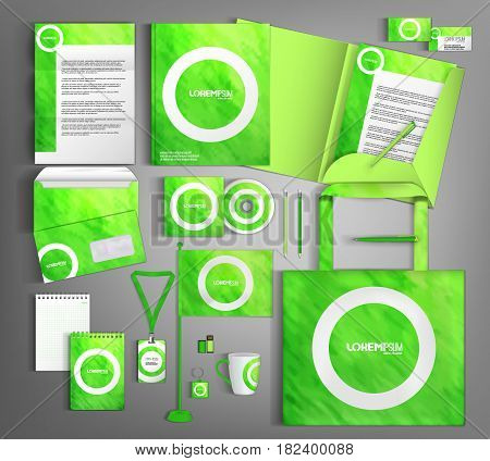 Green corporate identity template design with white design elements.  Business set stationery.