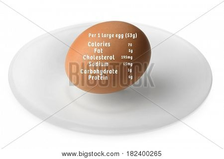 Saucer with raw egg and list of nutrition facts on white background